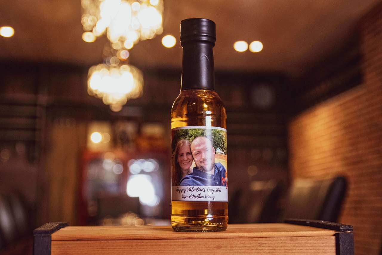 Personalised picture on wine bottle